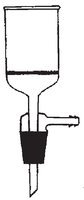 Dibujo esquemático del embudo cilíndrico con salida lateral para gases, placa