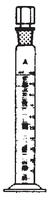 Dibujo esquemático de la probeta en vidrio borosilicato, clase A, con tapón de