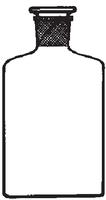 Dibujo esquemático del frasco vidrio borosilicato b/ancha b/estrecha. SIMAX