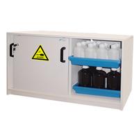 Cabina larga de  sobremesa de PVC para ácidos y bases. 2 puerta