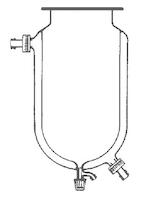 Matraz reactor cilíndrico con camisa y llave de punzón